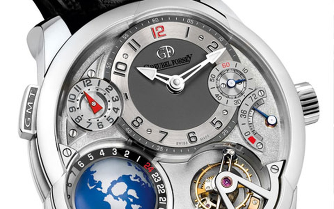 Greubel Forsey GMT features a three dimensional temporal representation. Silver, white gold and black alligator strap PRICE FROM 442500 HP