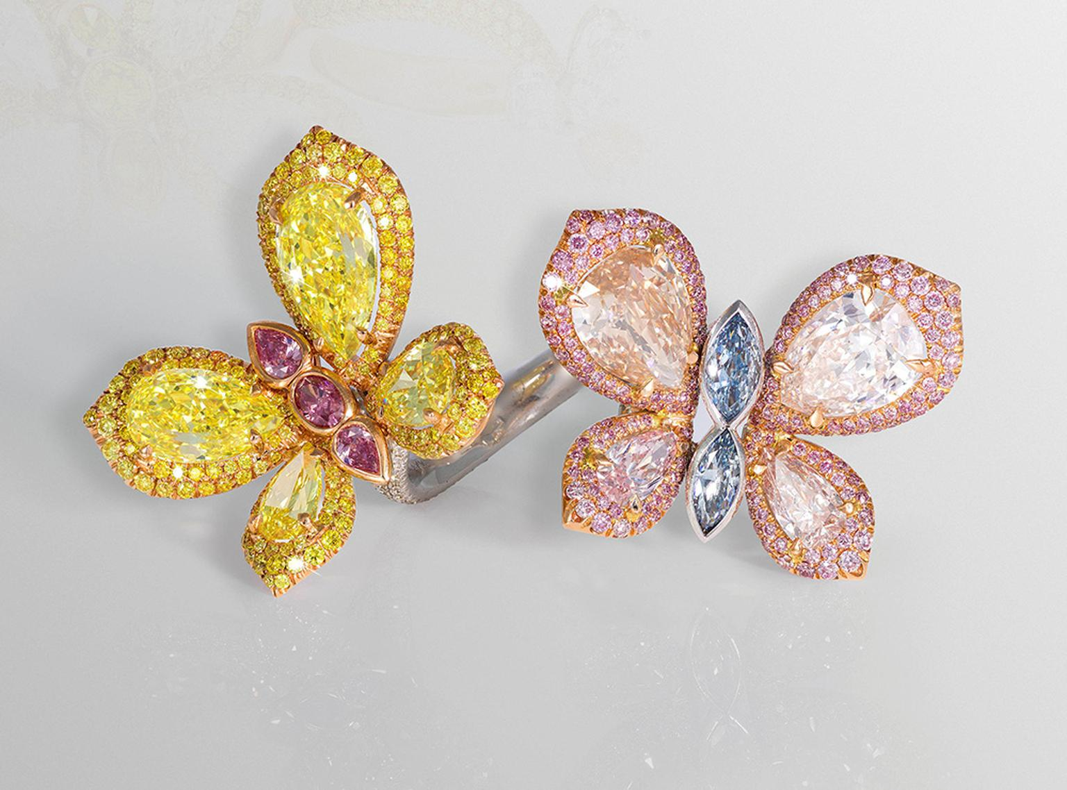 David Morris Butterfly ring, set with white, blue, pink and yellow diamonds, from the Butterfly and Palm Collection