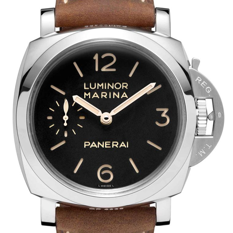 Panerai Luminor-marina-Polished steel and leather strap.Pam422_Cat_Front_B