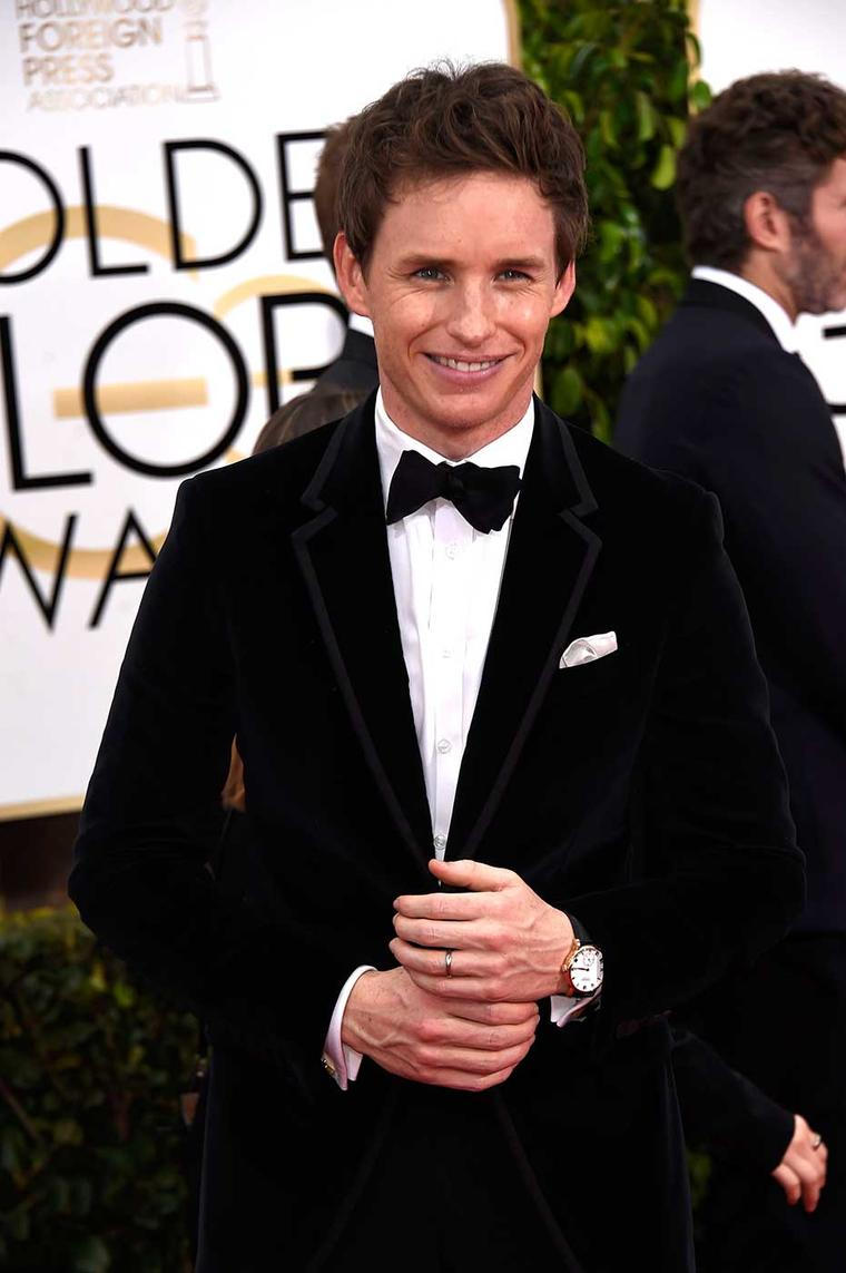 British actor Eddie Redmayne walked the Golden Globes red carpet wearing a Chopard Classic Manufacture watch in rose gold.