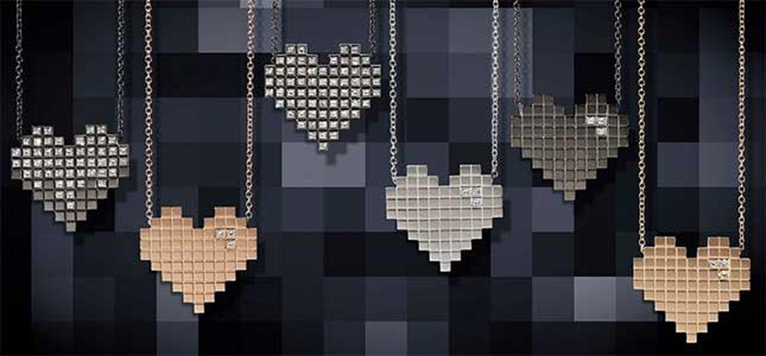 Francesca Grima Pixel Hearts necklaces