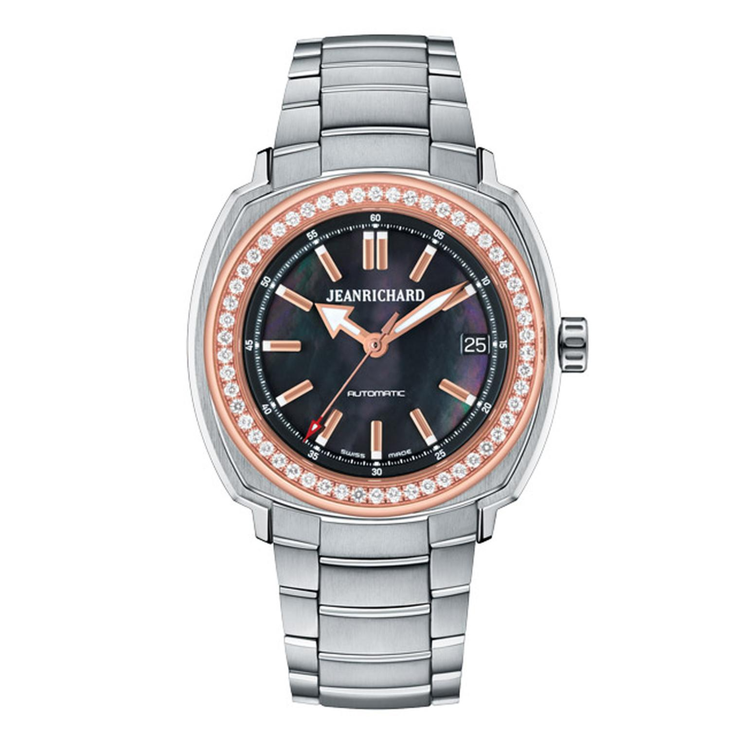 JeanRichard Terrascope watch with a dark mother-of-pearl dial and a diamond set bezel.