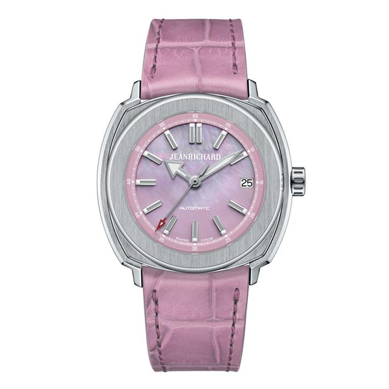 The most feminine of all of these new Terrascope watches is this JeanRichard Terrascope watch with a pink mother-of-pearl dial.