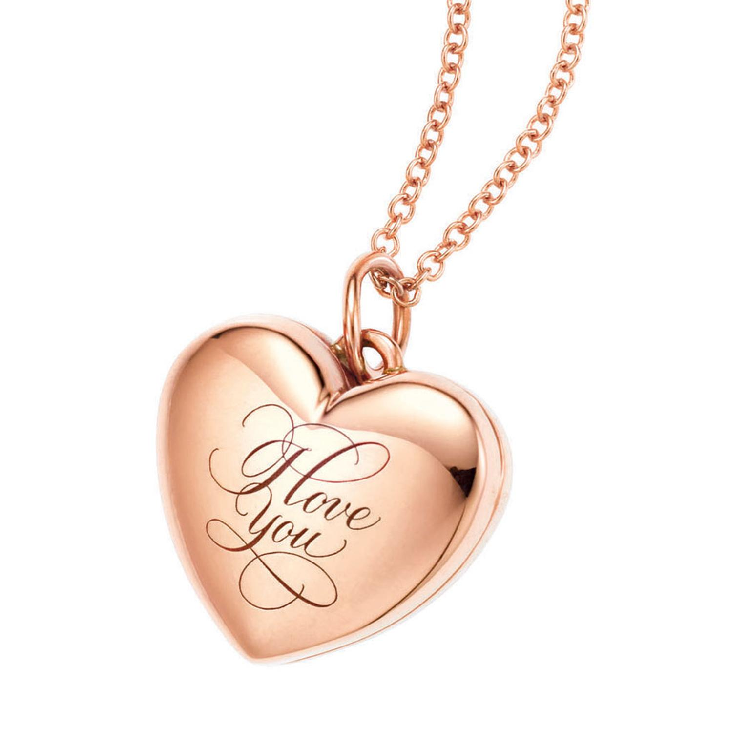Tiffany I love you locket in rose gold 680GBP and the rose gold Chain 135GBP