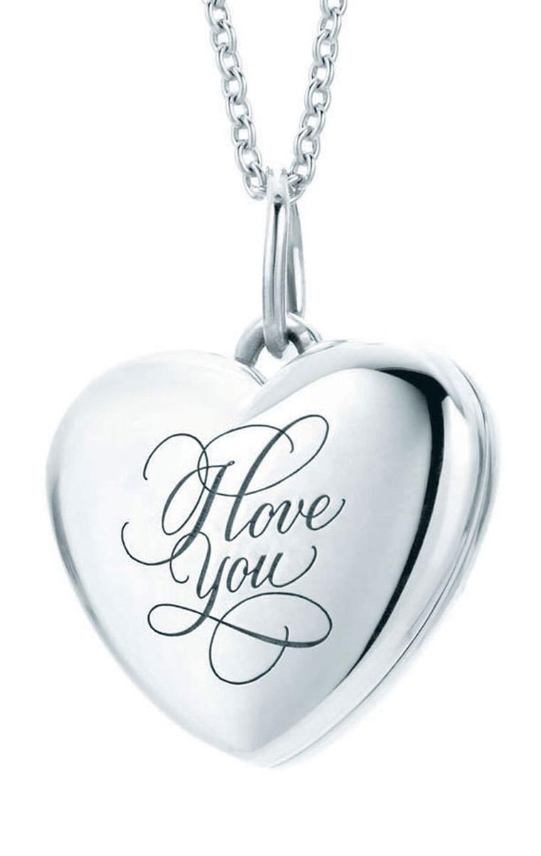 "Tiffany Hearts lockets with ""I Love You"" inscription in sterling silver on sterling silver pendant chain 325GBP"