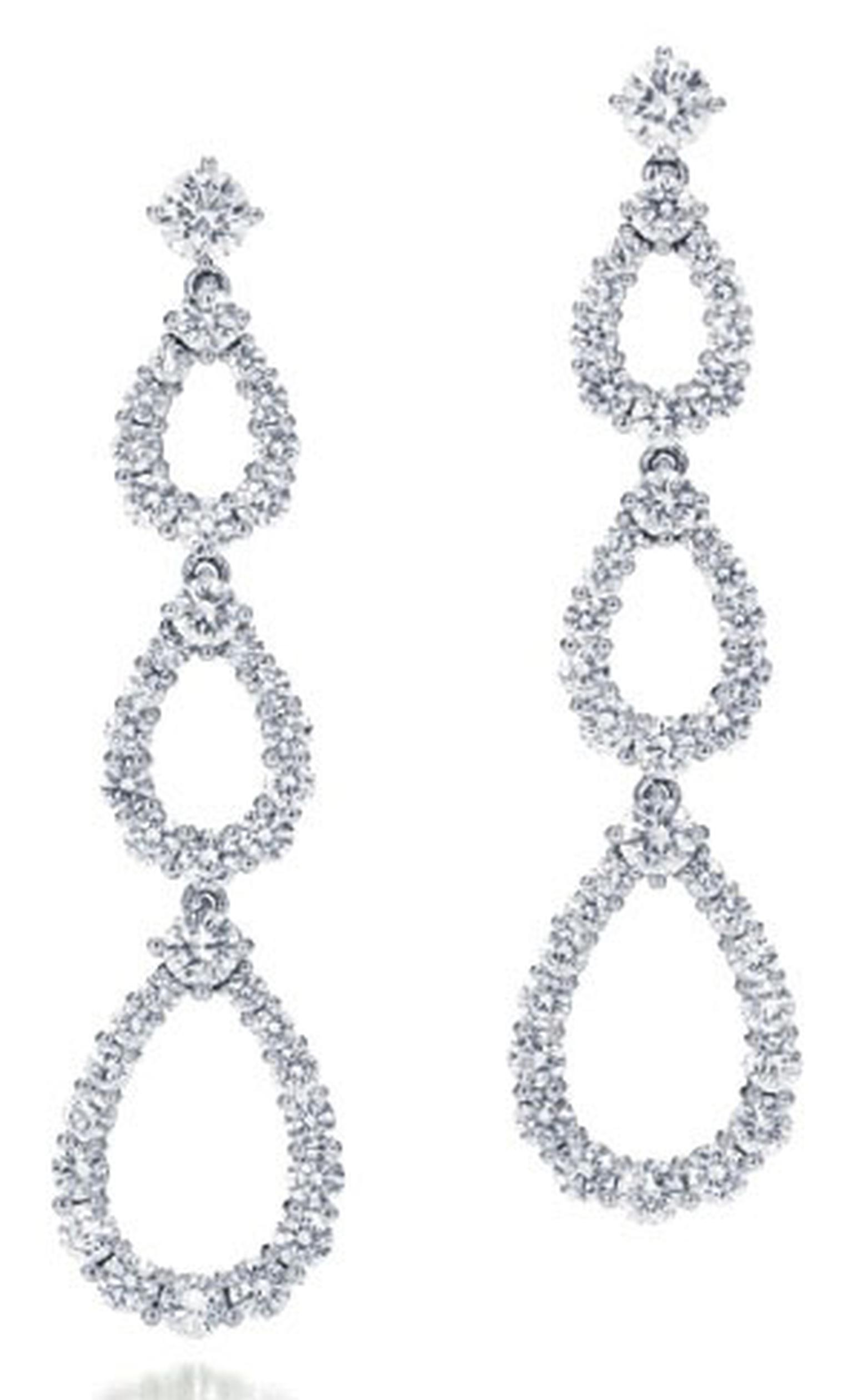 Harry Winston diamond and platinum triple Loop earrings