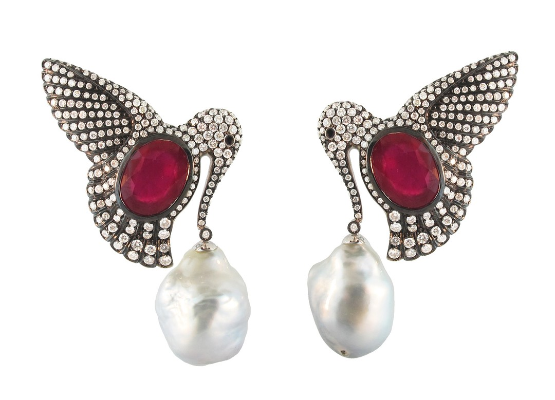 Silvia Furmanovich earrings in gold, with diamonds, South Sea pearls and rubies (£27,180).