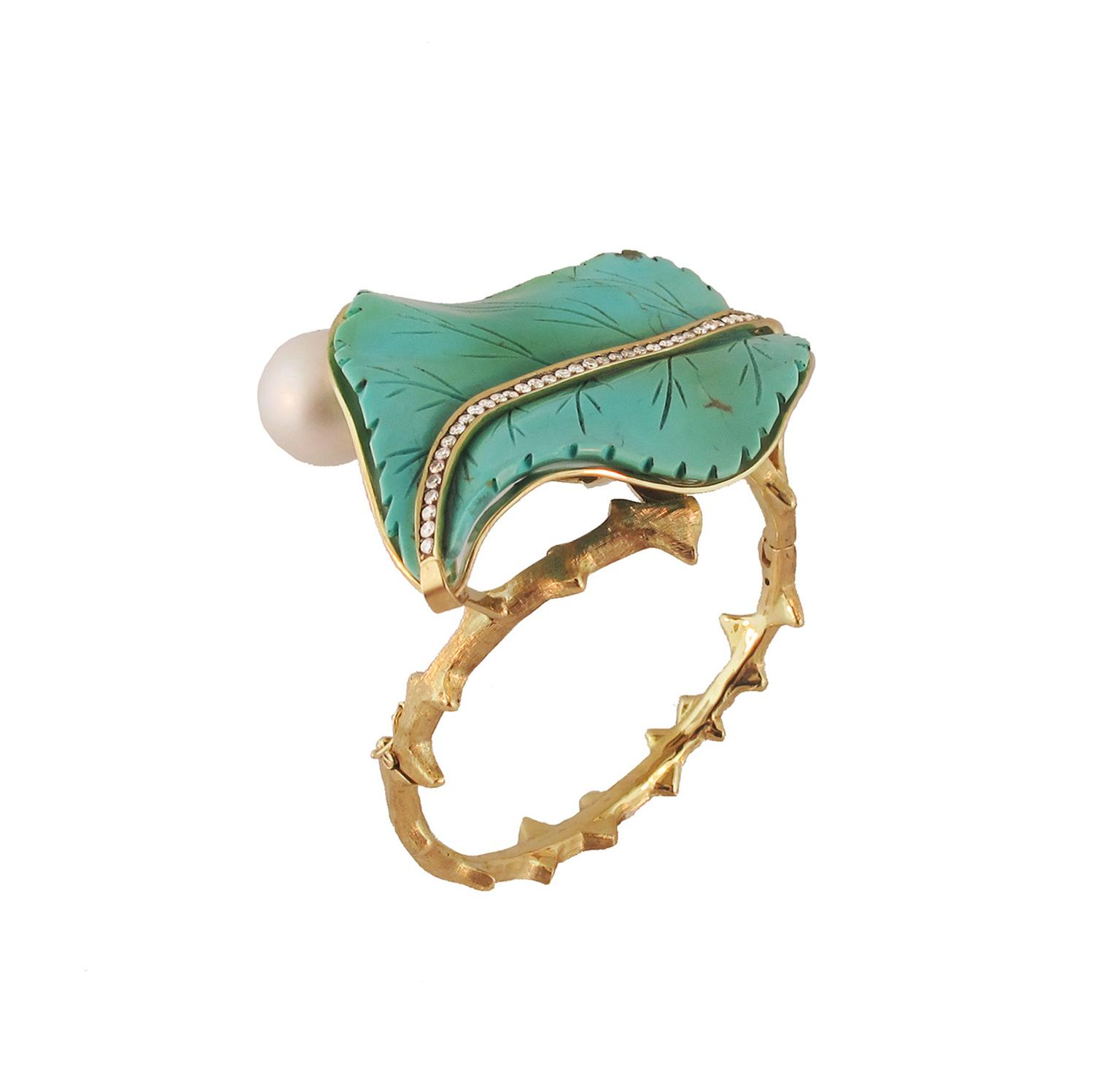 Silvia Furmanovich turquoise leaf cuff in gold, with diamonds and a pearl.