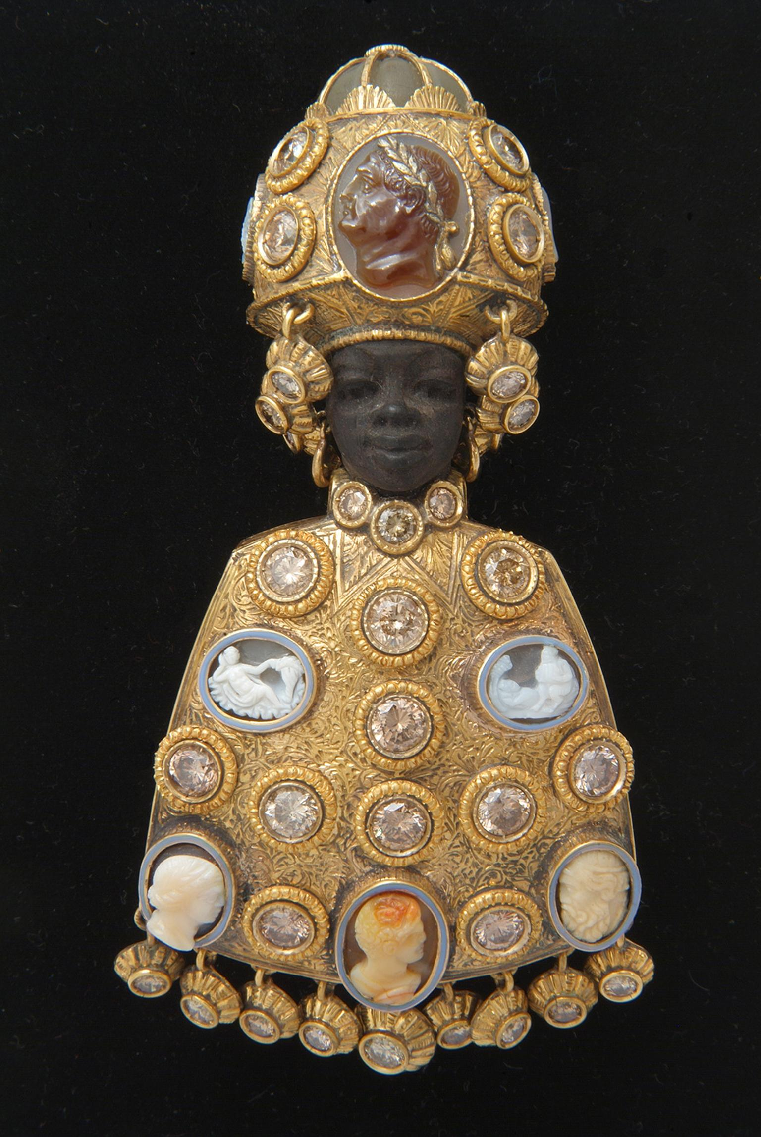 Attilio Codognato Blackamoor brooch in ebony and diamonds