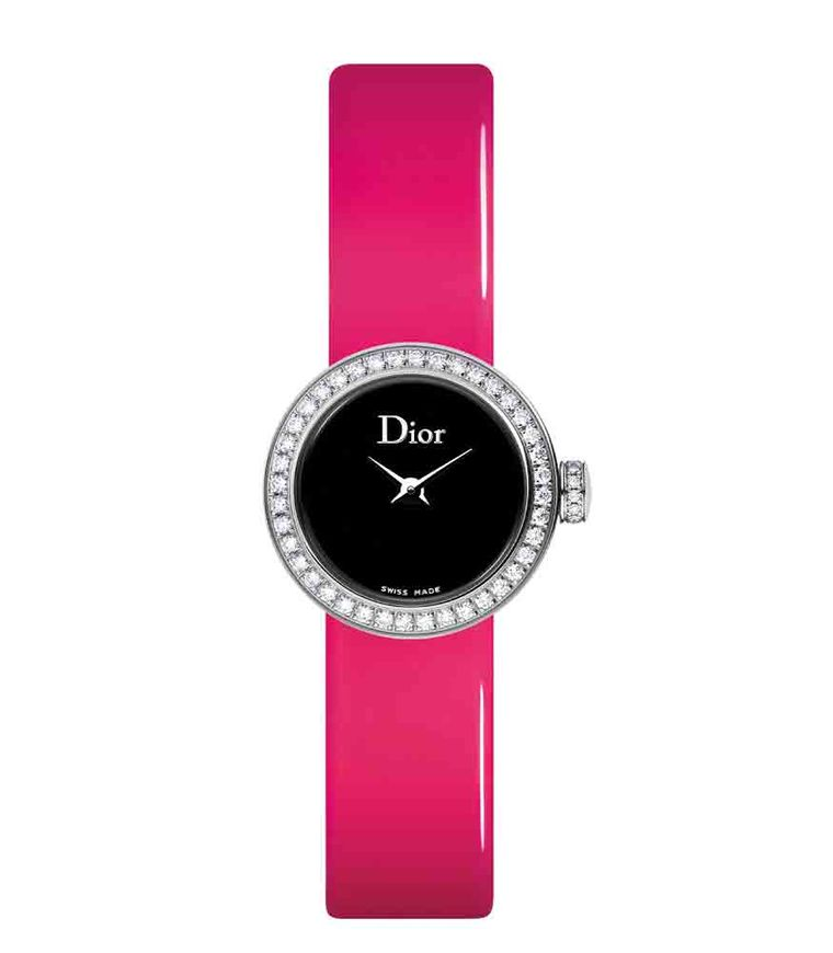 La Mini D de Dior (19mm) with neon strap, steel case, diamond-set bezel and black mother-of-pearl dial by Dior (£2,900).