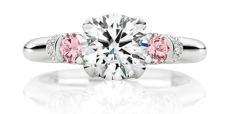 Calleija. 1.52ct round brilliant cut white diamond ring set in platinum featuring 0.30cts of Argyle Pink Diamonds POA