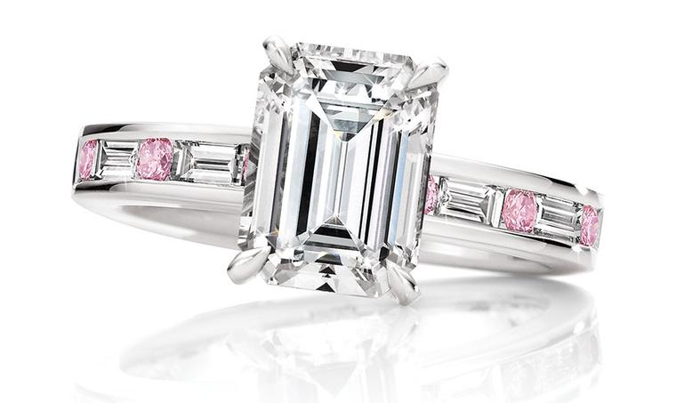 Calleija. Evangeline.1.17ct emerald cut white diamond ringset in 18ct white gold with baguette cut white diamonds and round brilliant cut Pink Diamonds.POA.jpg