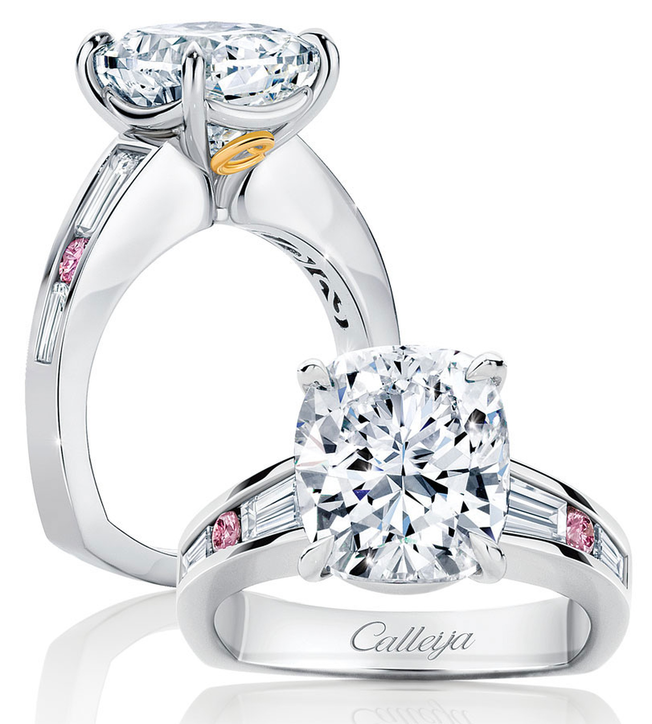 Calleija. French Rose. 18ct White Gold, Pink and White Diamond ring. Featuring 0.24ct Calleija. Round Brilliant Cut Australian Argyle Pink Diamond, and White Diamond shoulders. Price from £21,000.