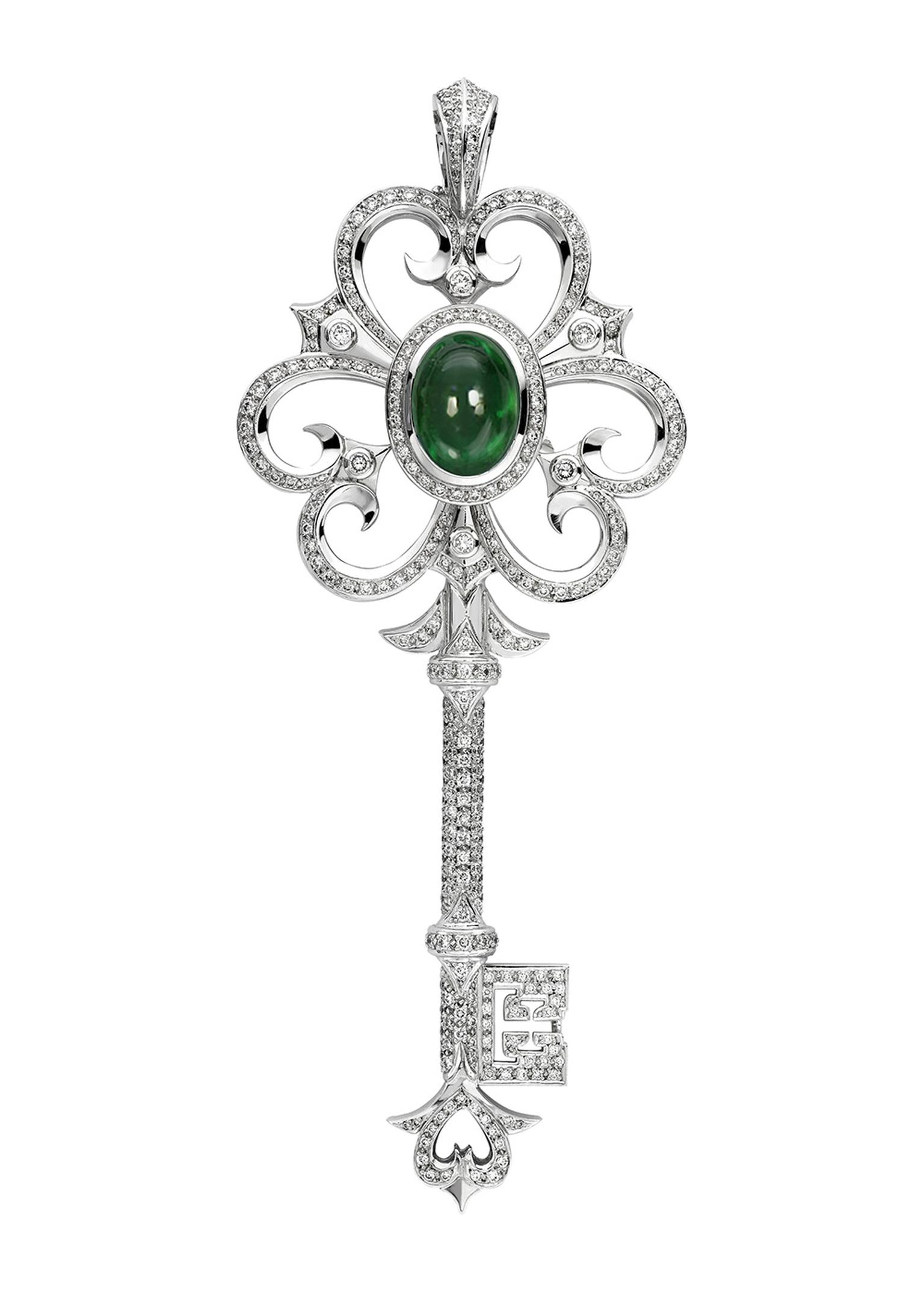 From Theo Fennell's 'Keys' collection, this white gold key pendant features an exceptional 8.70ct emerald. At 110mm, the body of the pendant is adorned with 2.79ct of diamonds.