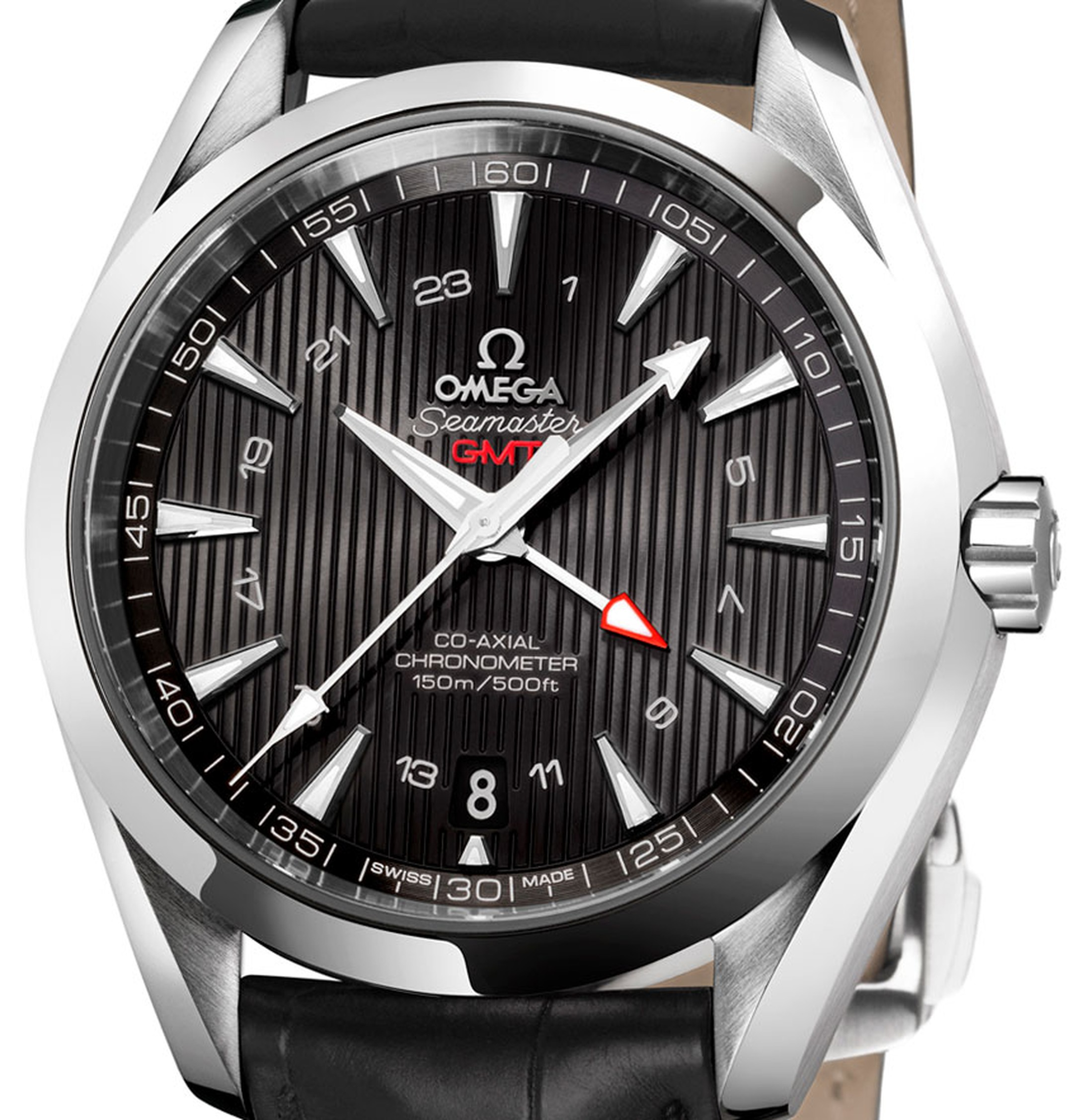 OMEGA-Seamaster-Aqua-Terra-GMT watch stainless steel and black leather strap POA