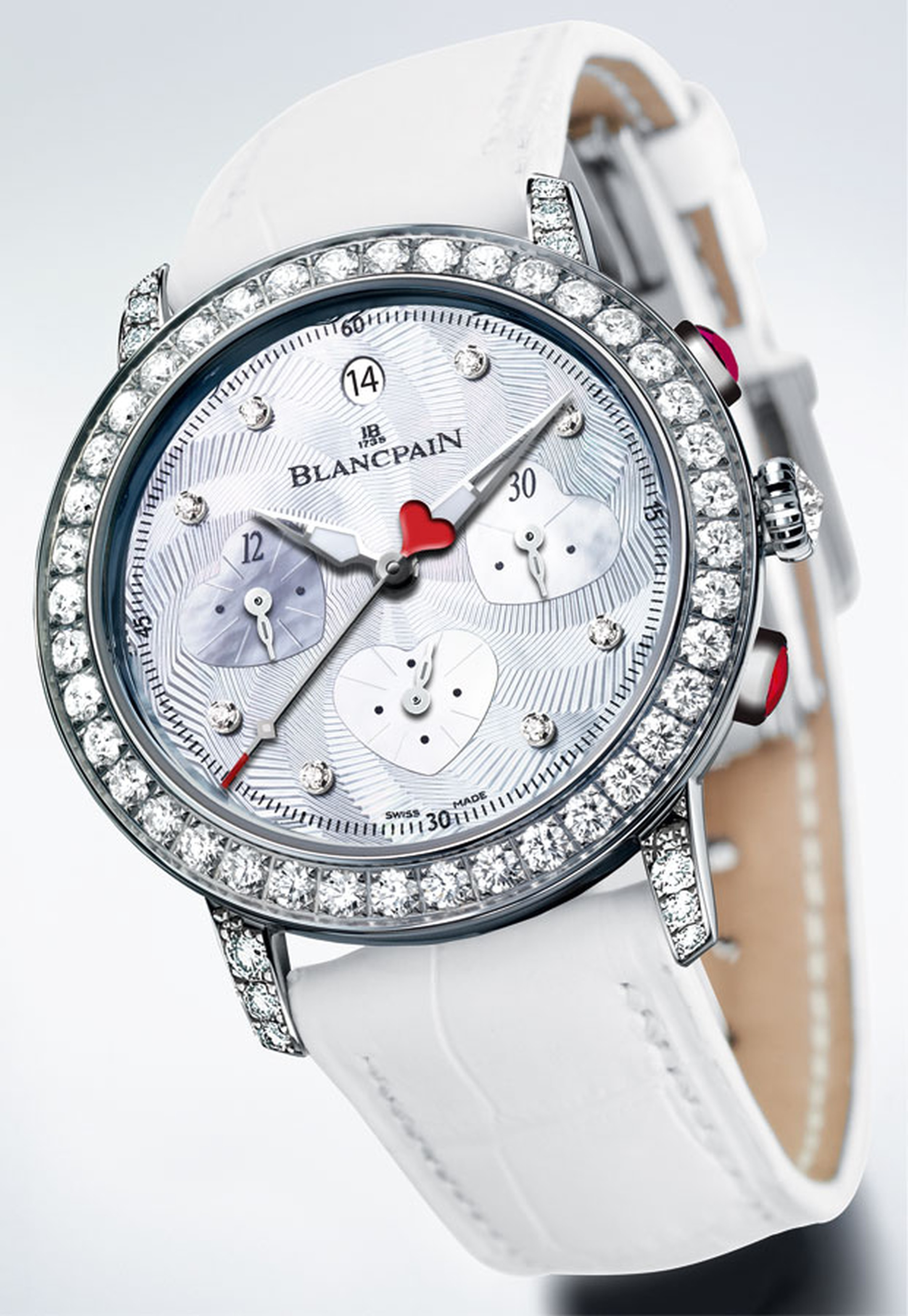 Valentines - Blancpain The Saint-Valentin Chronograph watch Calibre F185 in white gold with diamonds, cabochon-cut rubies with a white leather strap POA jpg