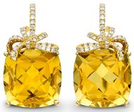 Valentines - Kiki McDonough Citrine and diamond Cushion Bow earrings. Price from £2,600