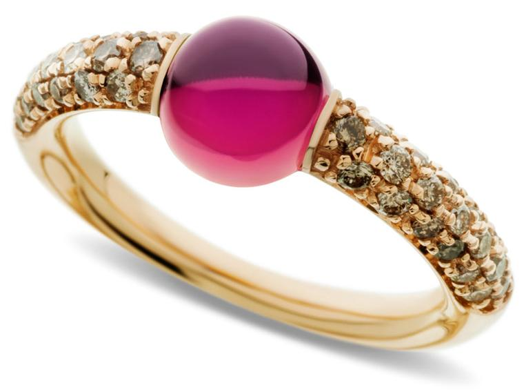 valentine - Pomellato-Ring-in-rose-gold-with-red-tourmaline-and-brown-diamonds-2155
