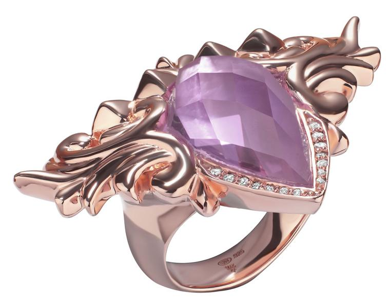 Valentines - Stephen-Webster-Superstud-Baroque-Fleur-de-Lis-Ring-set-in-Rose-Gold-plated-sterling-silver-with-Pink-Quartz-set-over-White-Mother-of-Pearl-and-White-Diamonds---£970