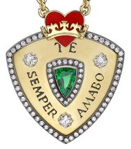 "Valentines - Theo Fennell 18ct Yellow and White Gold,  Red Enamel, Tsavorite and Diamond ""Te Semper Amabo"" Carpe Diem Pendant £10,500""?"