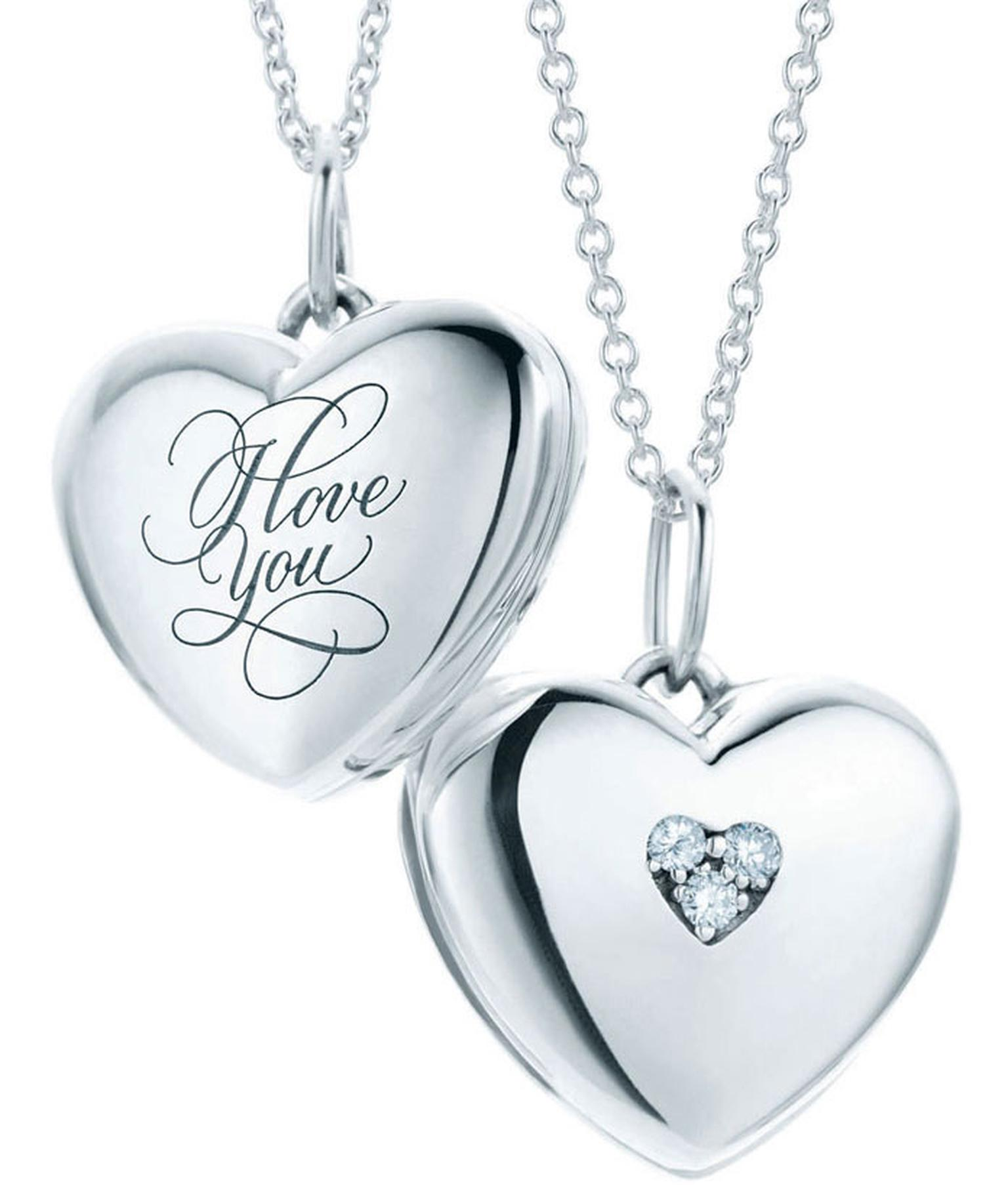 Valentines - Tiffany-Hearts-lockets-with-'I-Love-You'-inscription-in-sterling-silver-with-diamond-on-sterling-silver-pendant-chain-price-from-325GBP