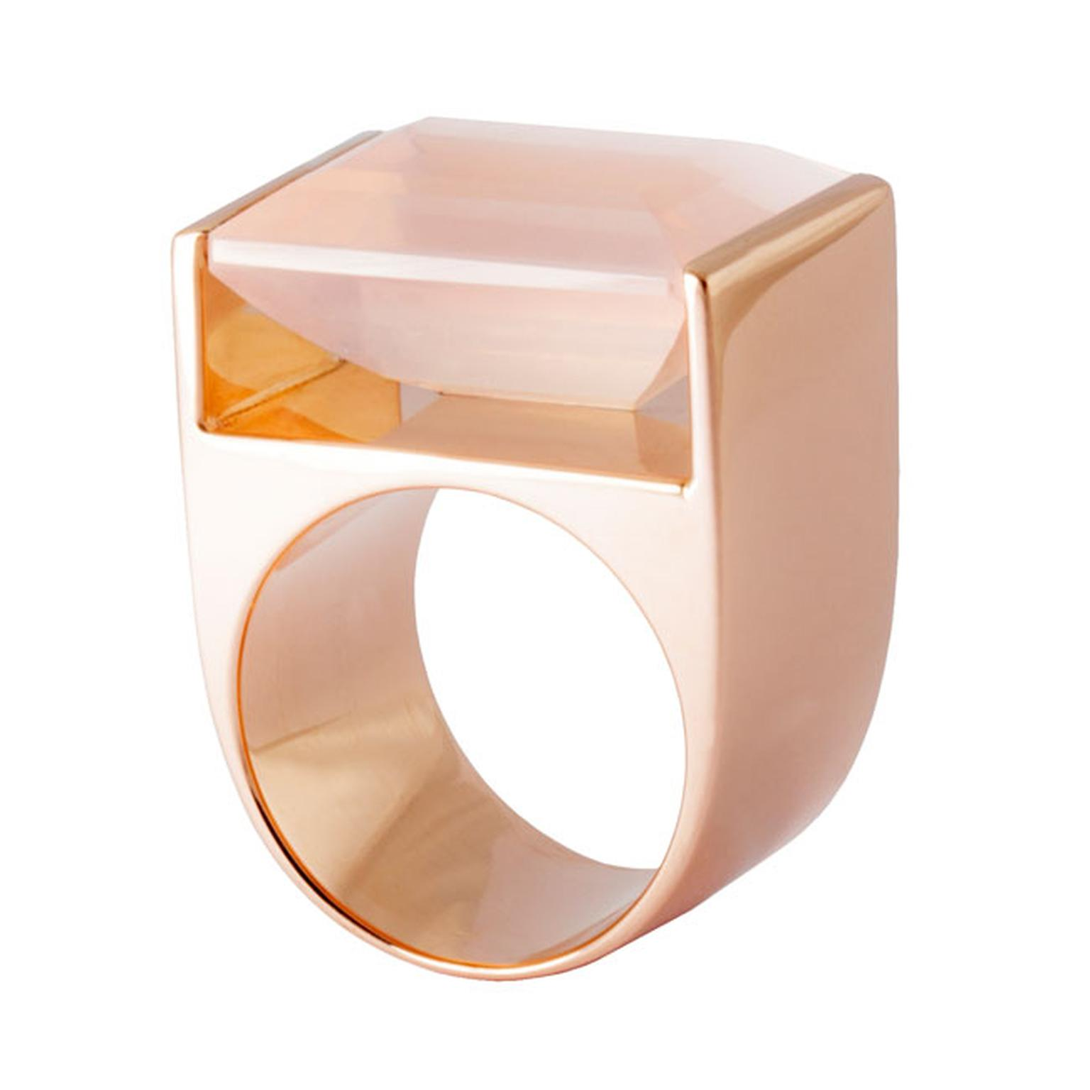 Kattri Quadrant Tall rose gold and rose quartz ring_main
