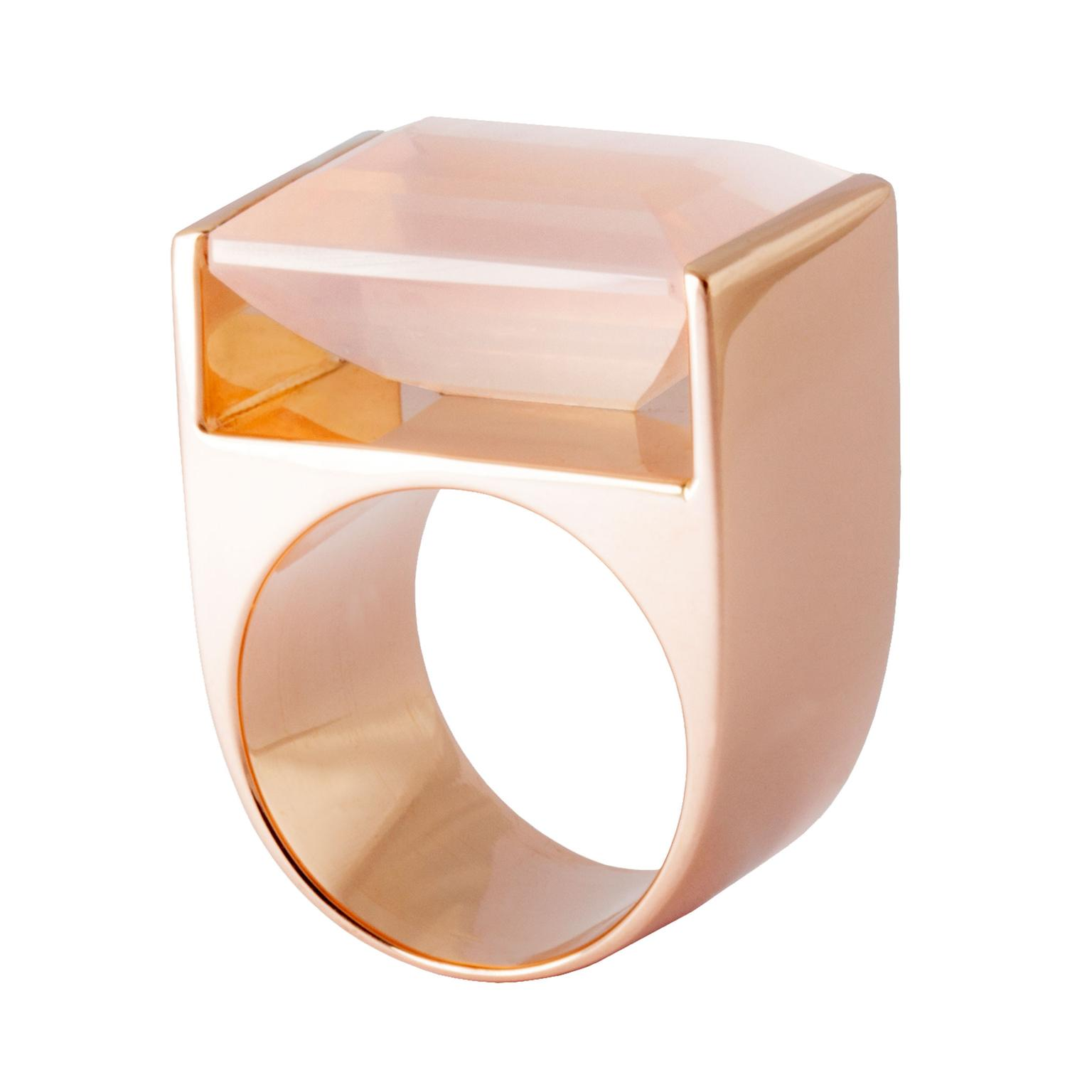 Kattri Quadrant Tall rose gold and rose quartz ring_zoom