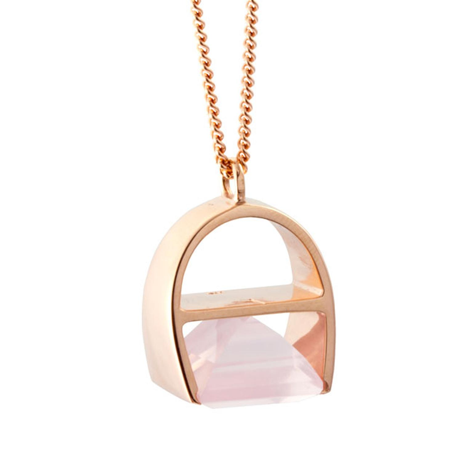 Kattri Parabola rose gold and rose quartz necklace_main