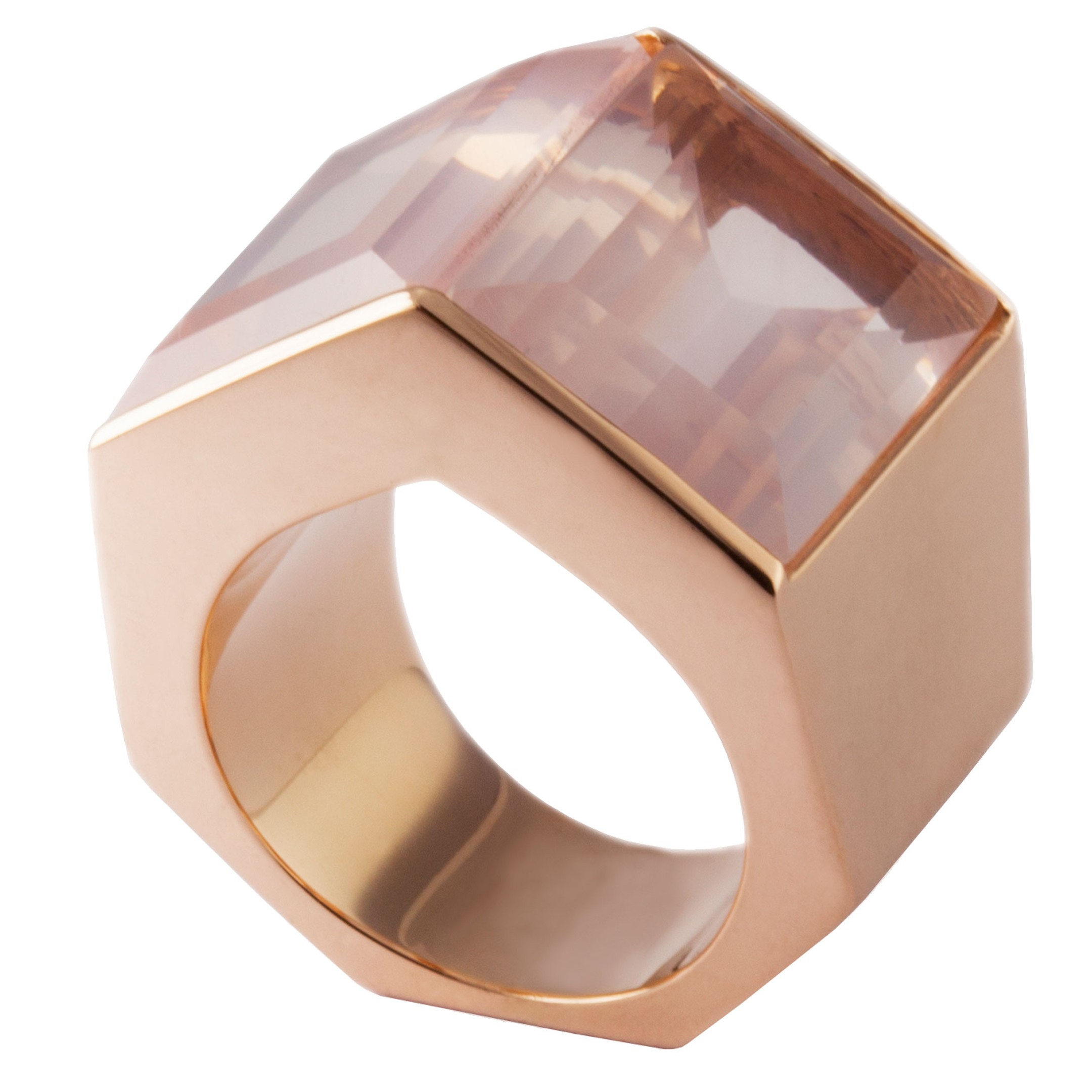Kattri Polygon Tall rose gold and rose quartz ring_zoom