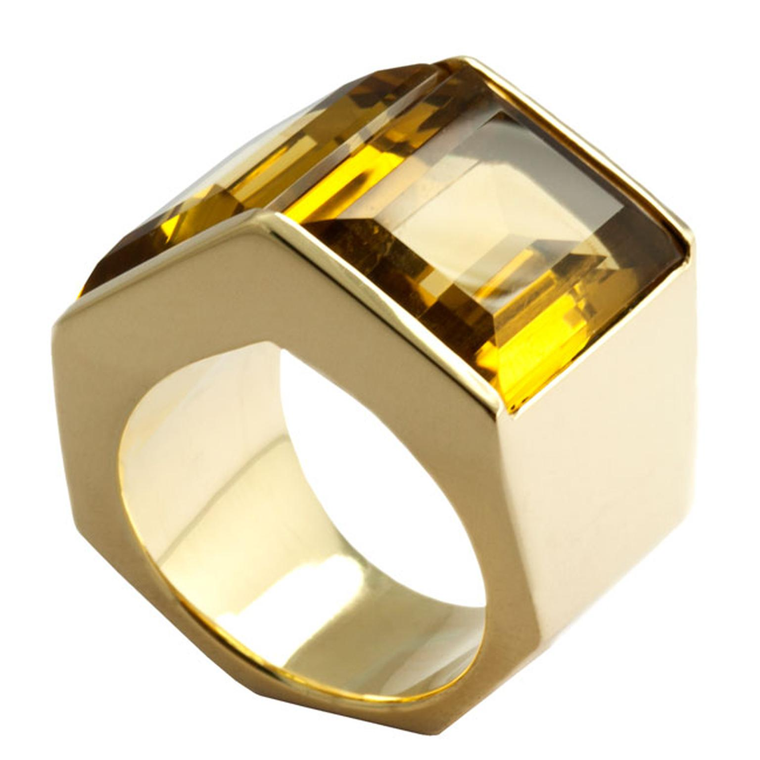 Kattri Polygon Tall yellow gold and citrine ring_main