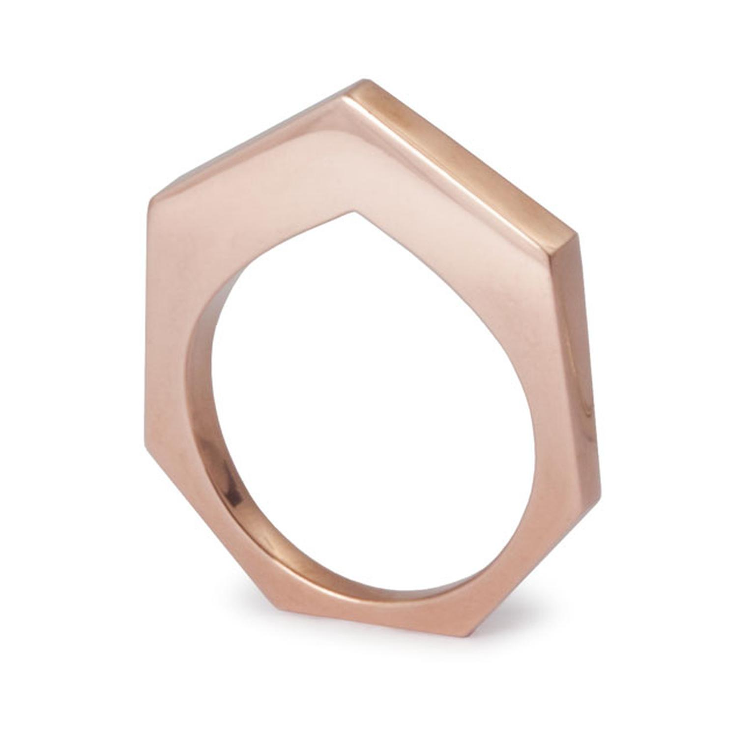 Kattri Polygon Flat rose gold ring_main