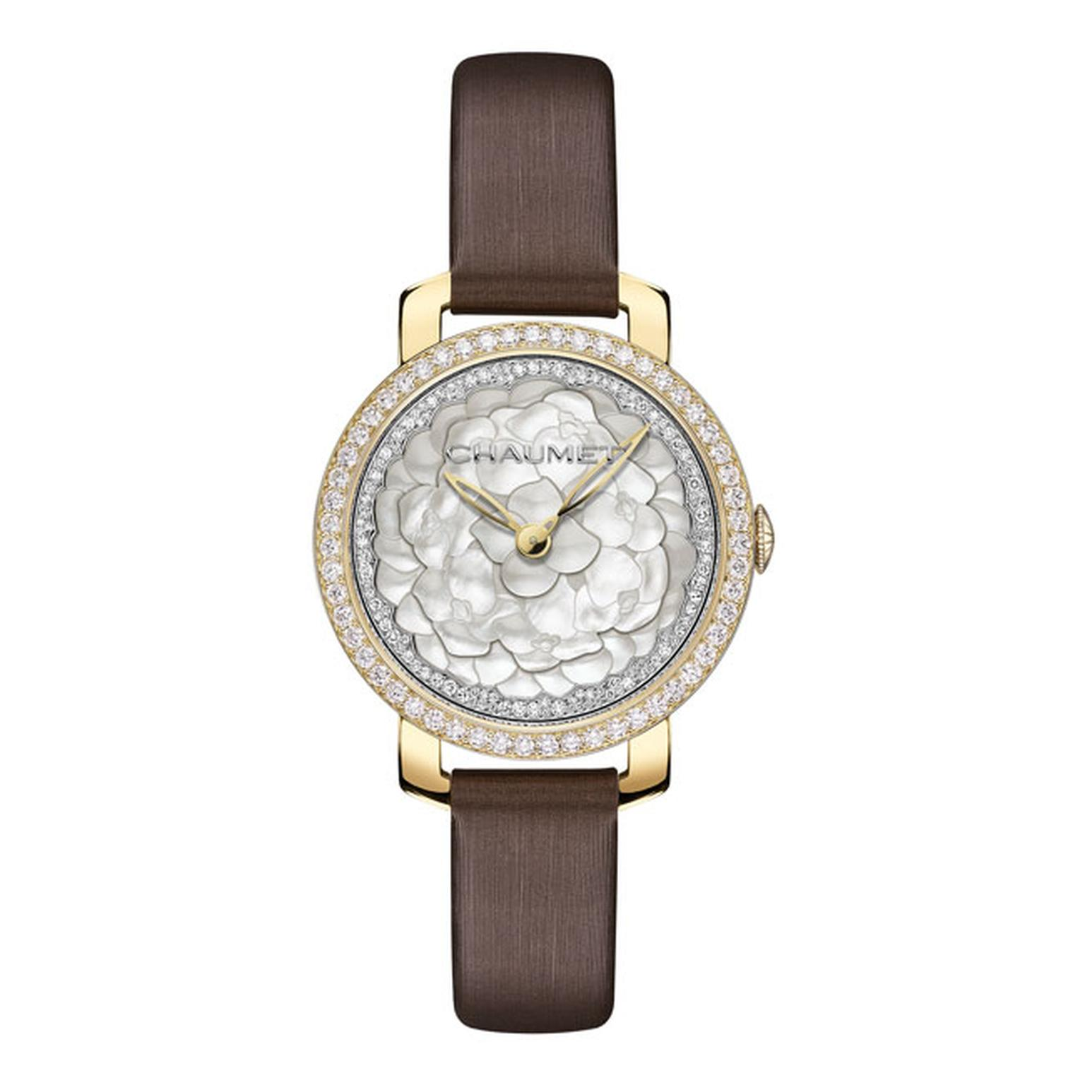 Chaumet Hortensia watch with brown strap_main