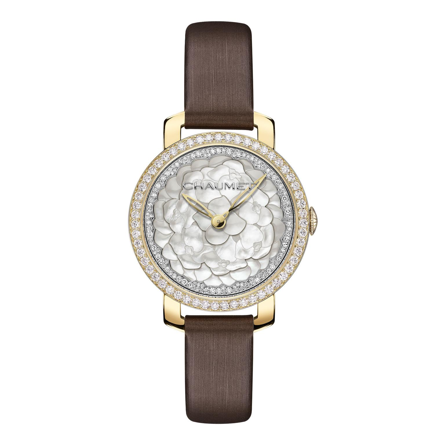 Chaumet Hortensia watch with brown strap_zoom