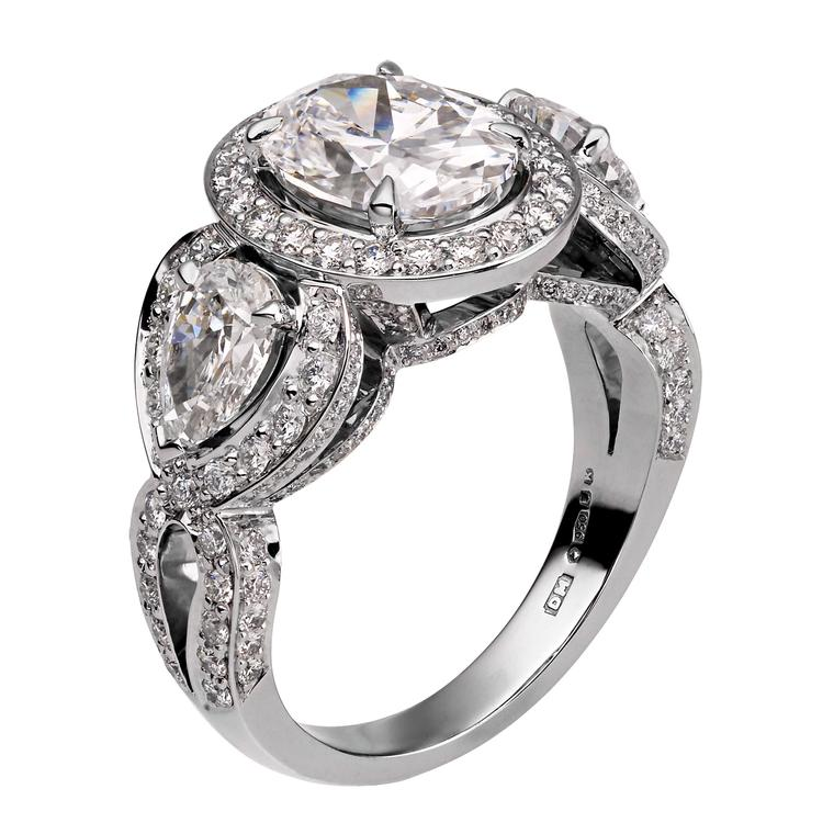 David Marshall Oval cut and pear shaped diamond ring_zoom