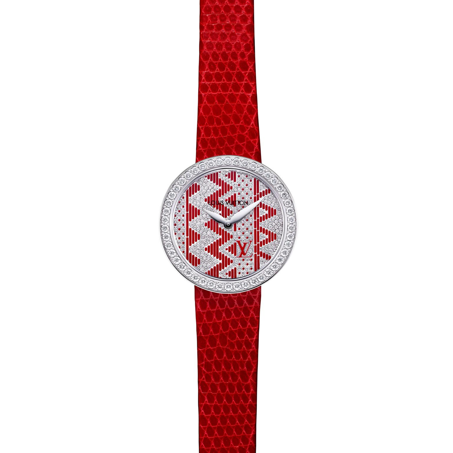Louis Vuitton Joaillerie Chevron ladies watch in red_zoom