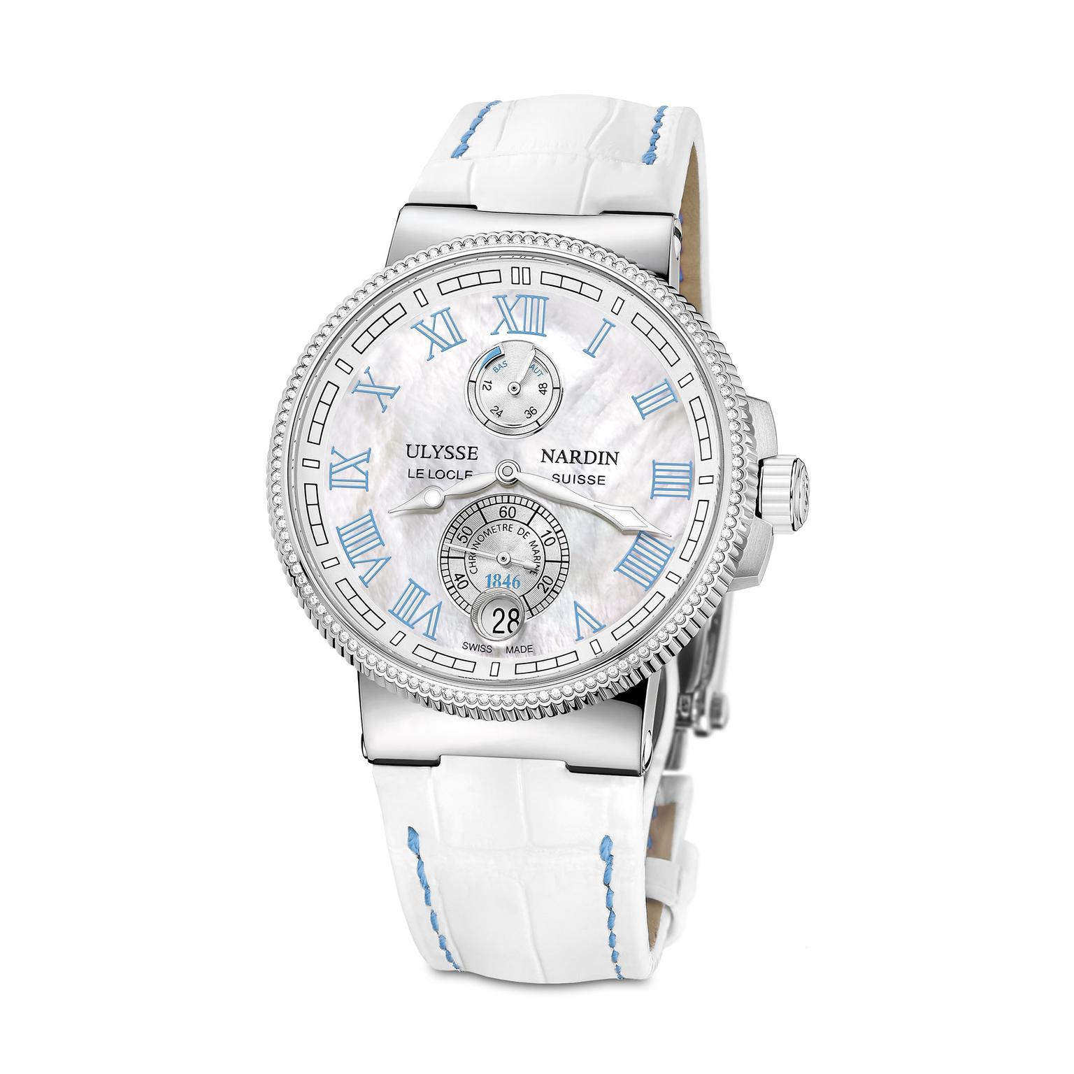 Ulysse Nardin Marine Chronometer 43mm ladies watch in blue_zoom