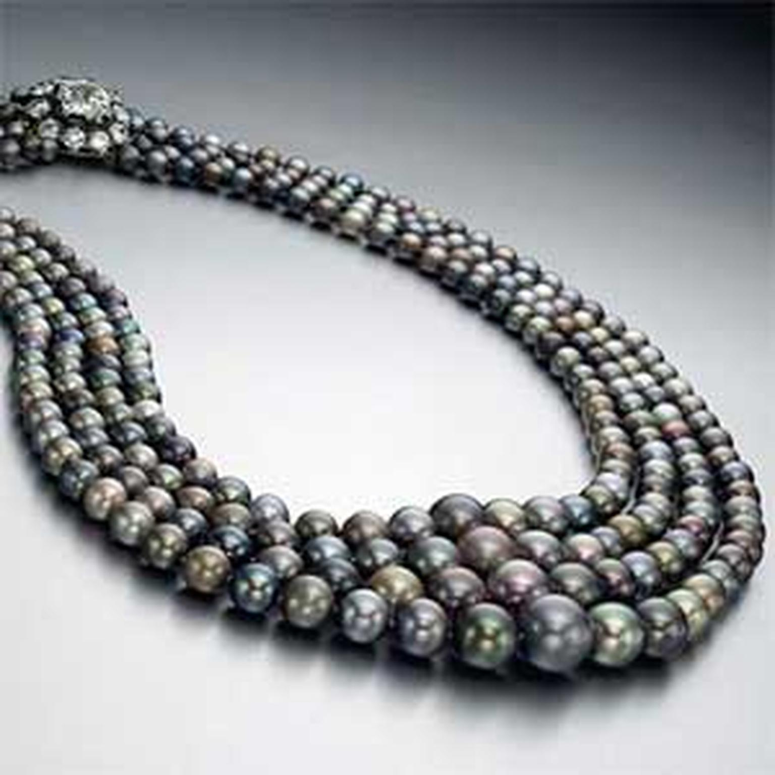 Record breaking four-strand natural saltwater coloured pearl necklace