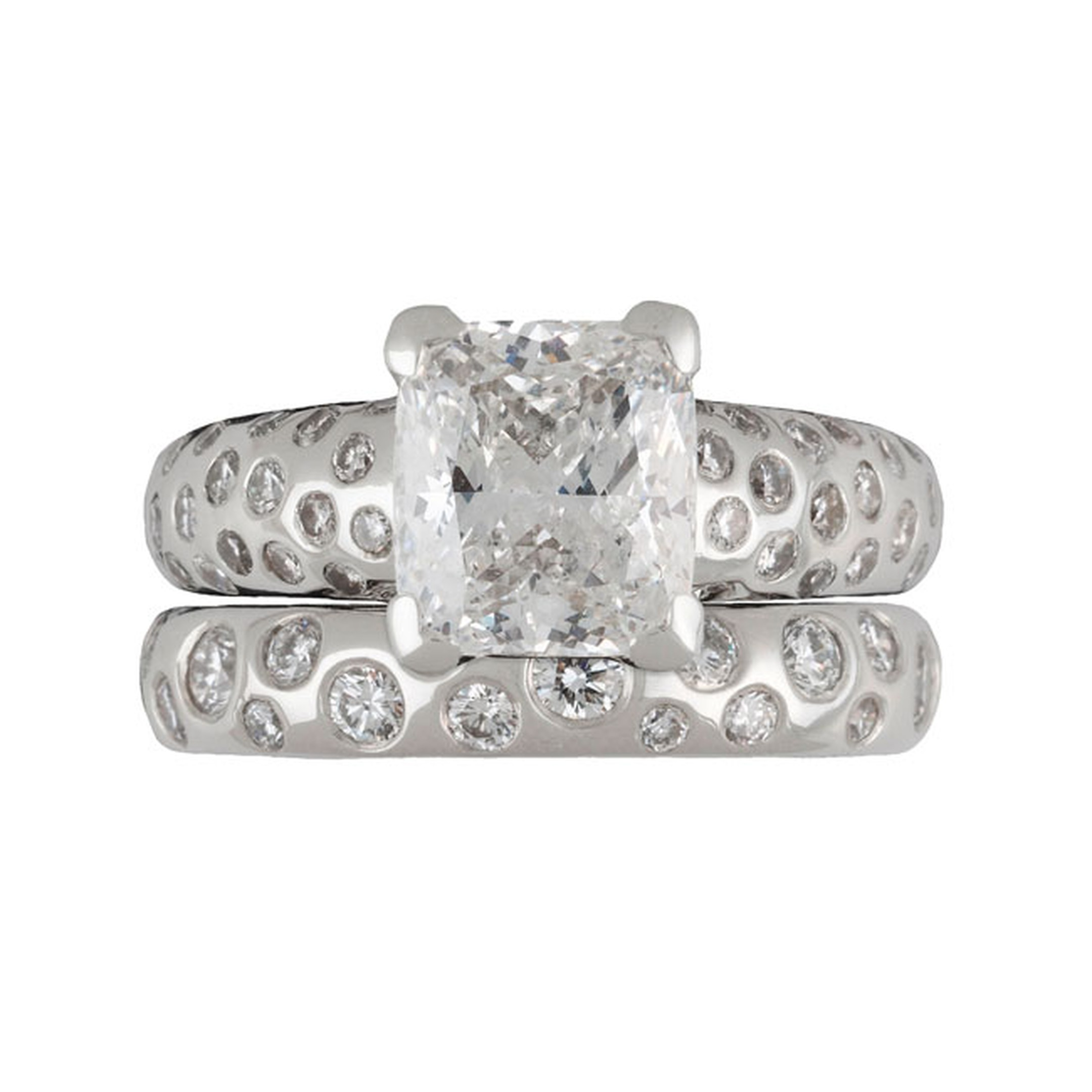Dower and Hall Fireworks engagement and wedding ring set_main