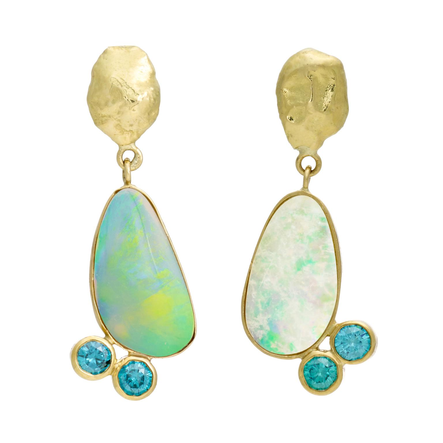 iKuria Assymetric opal blue diamond and gold earrings_zoom