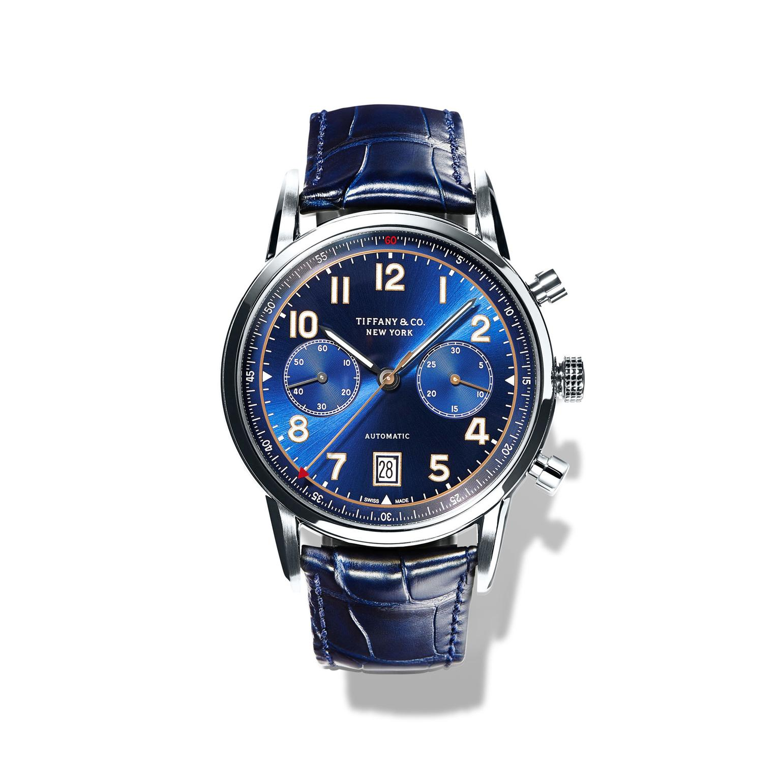 Tiffany CT60 42mm Blue Chronograph mens watch_zoom