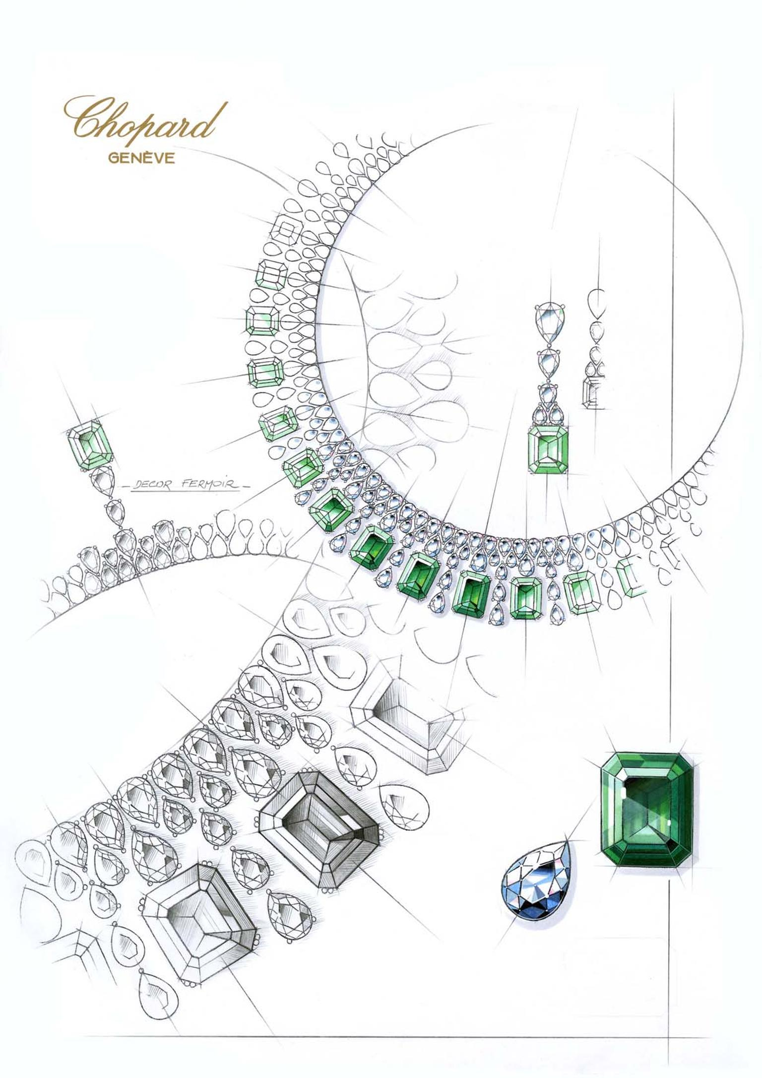 819356-1001 Sketch Emerald Necklace from the Red Carpet Collection 2013ChopardChopard.jpg