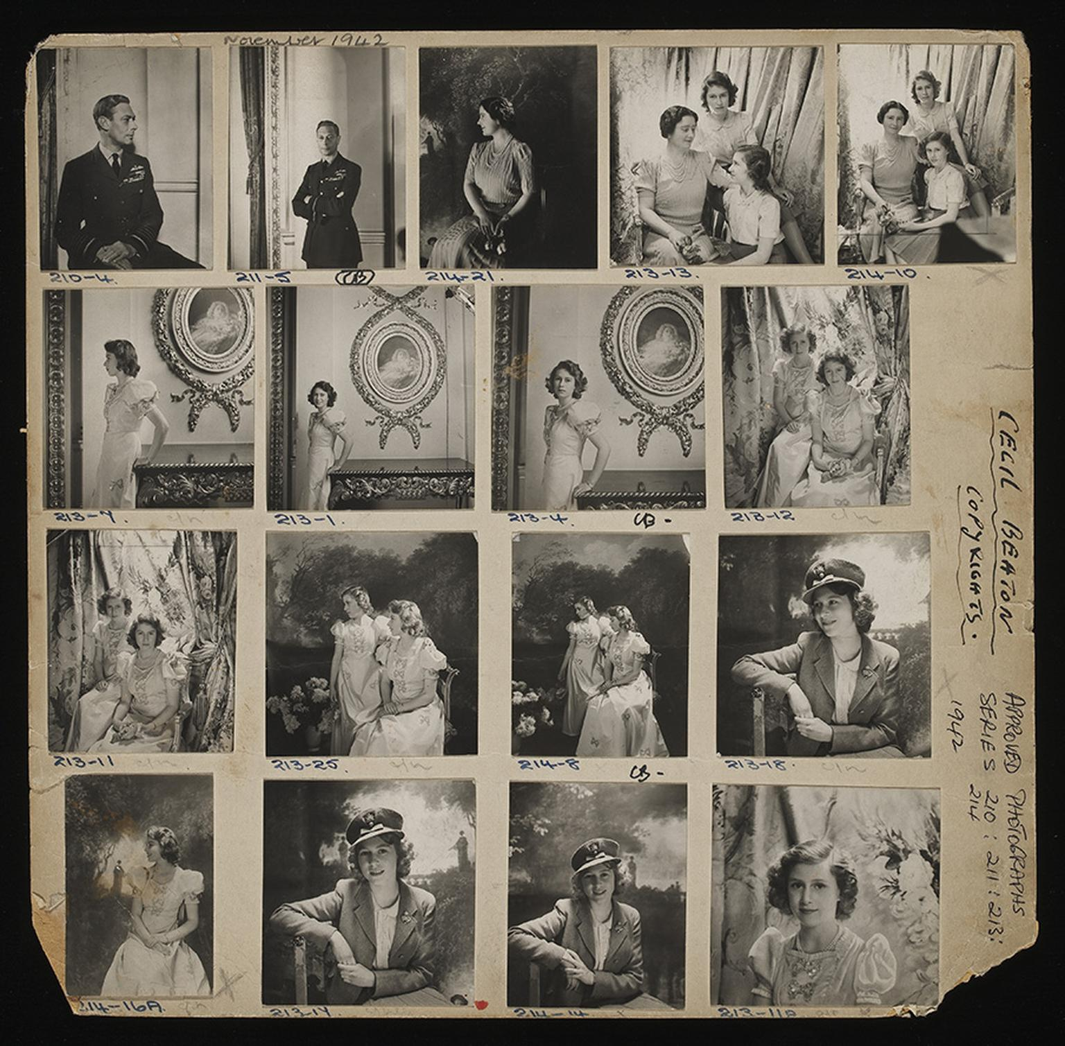 Contact sheet of The Royal Family, Buckingham Palace  Artist: Cecil Beaton  Date: October 1942  Credit line: copyright V&A images