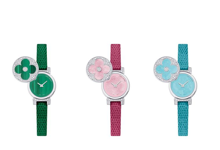 New Louis Vuitton Tambour Bijou Secret watches in colour-popping shades
