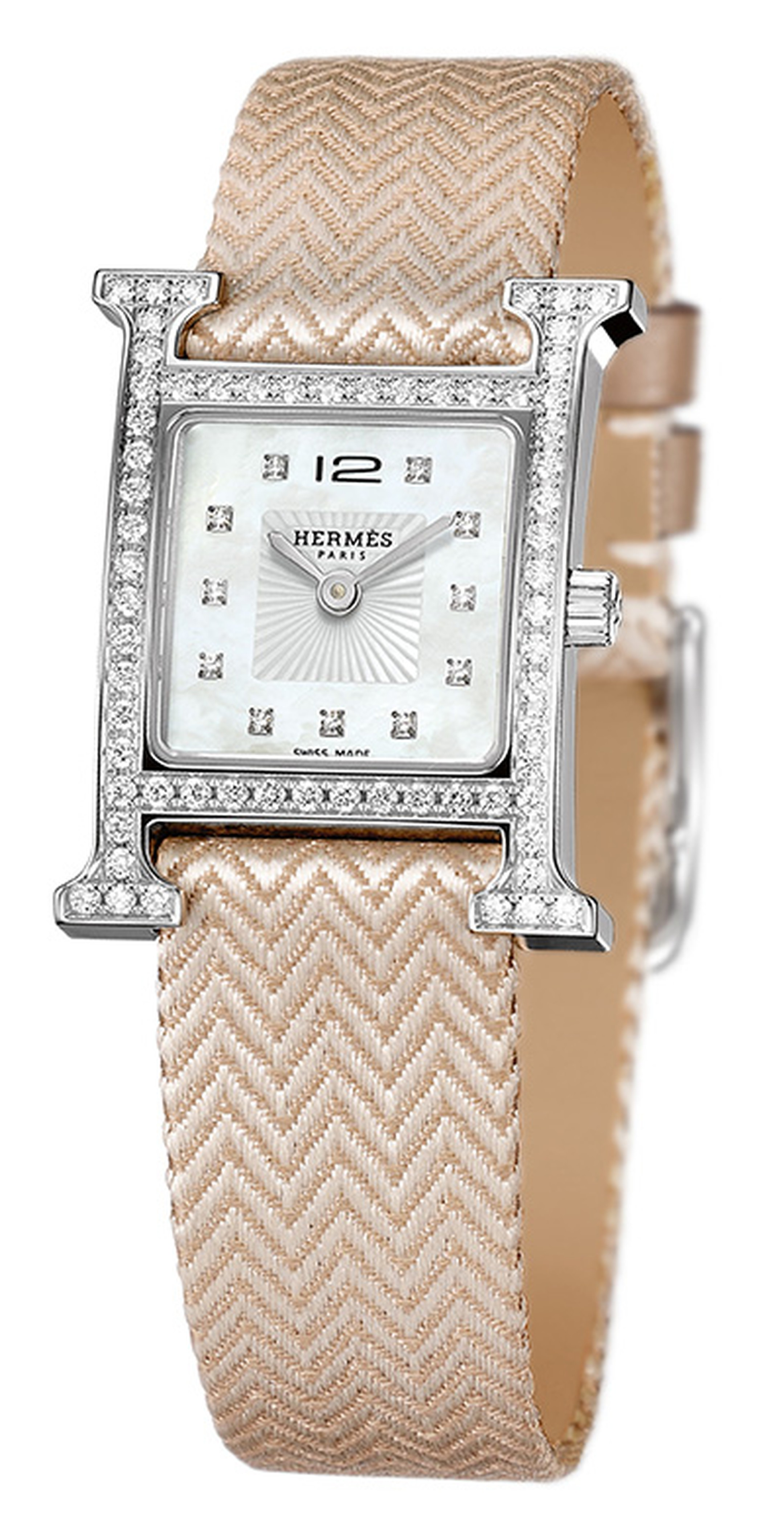 Hermes H Heure on pink silk strap