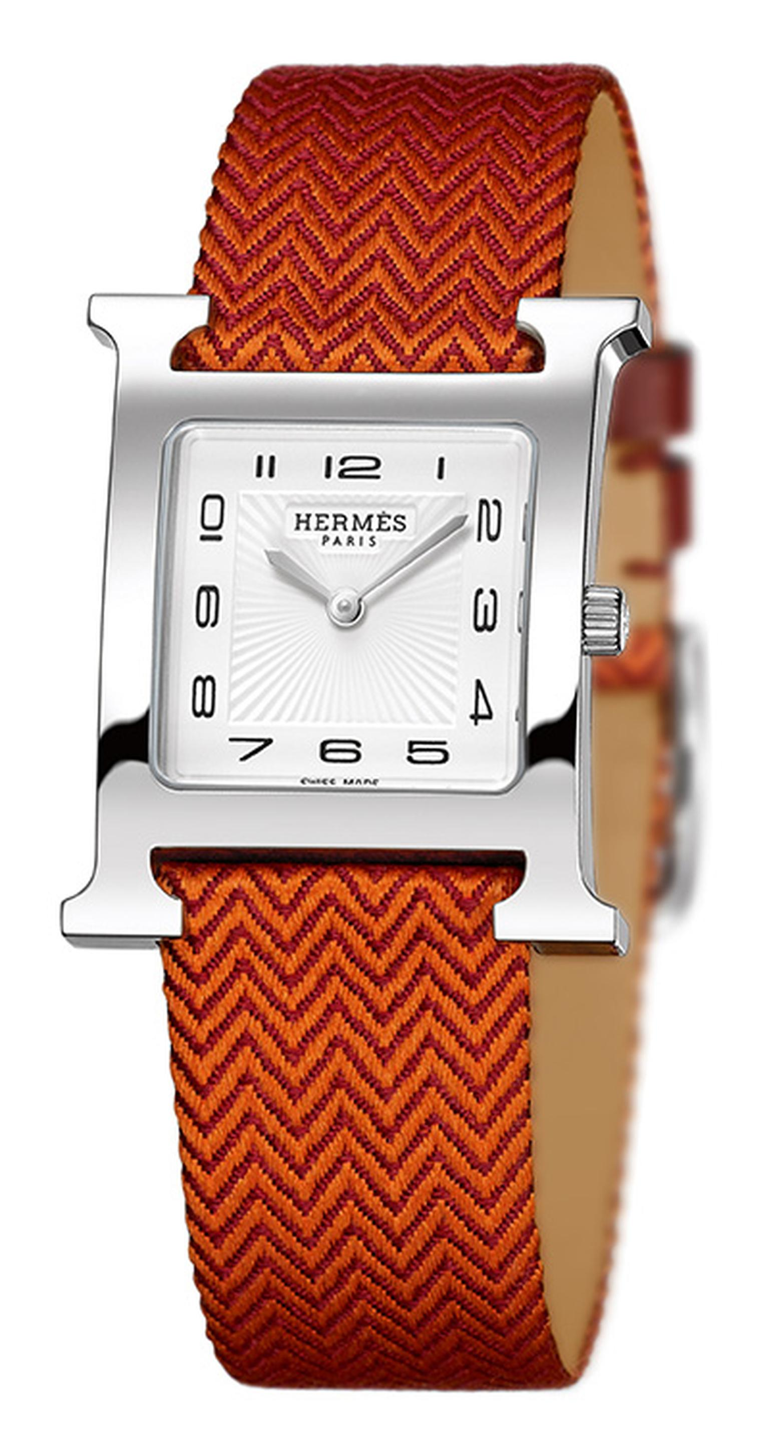 Hermes H Heure on orange silk strap