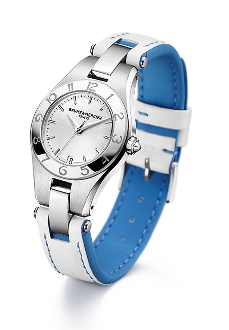 Baume & Mercier Linea with blue and white spring/summer 2012 strap