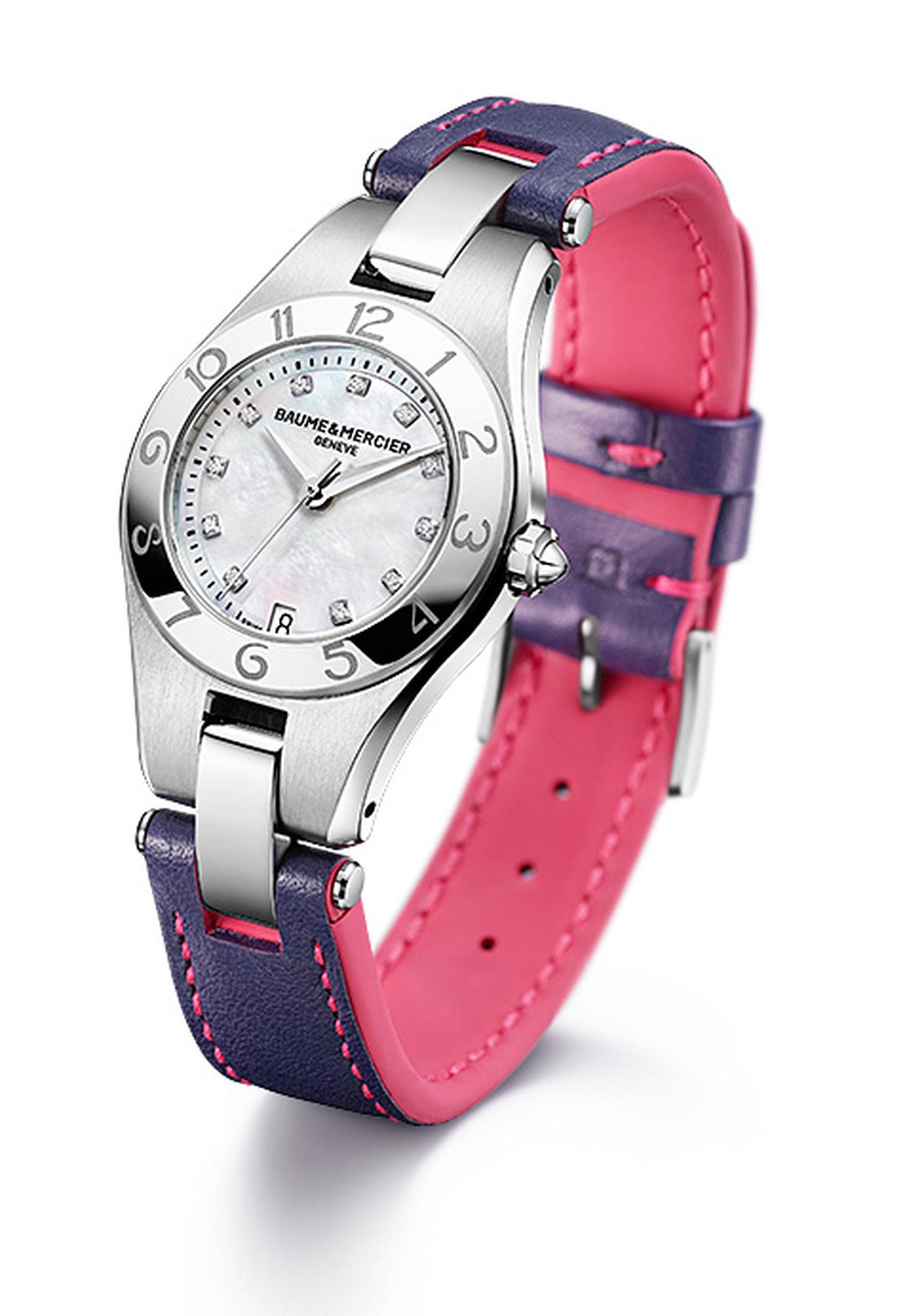Baume & Mercier Linea with mauve and pink spring/summer 2012 strap