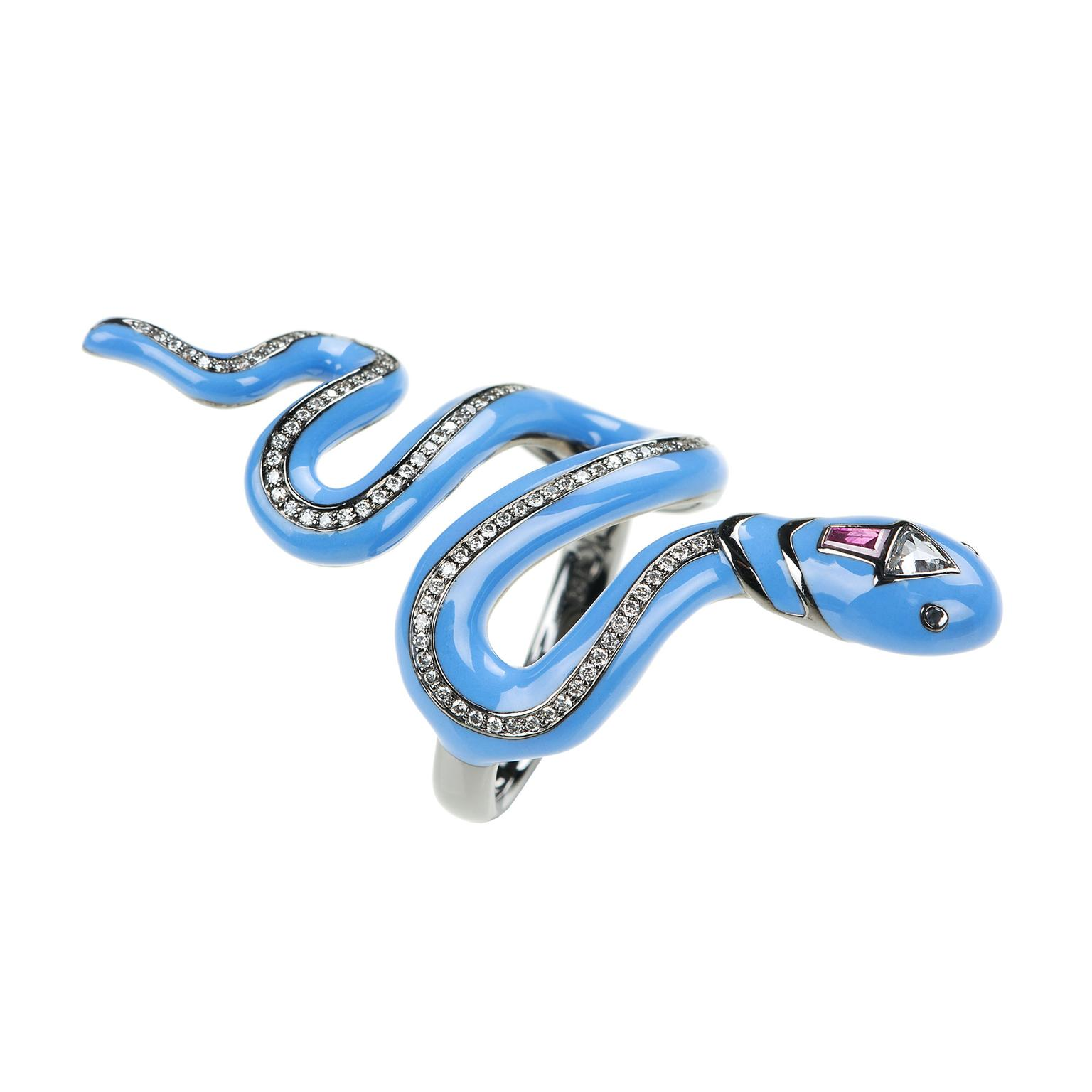 Nikos Koulis Blue enamel and diamond snake ring_zoom