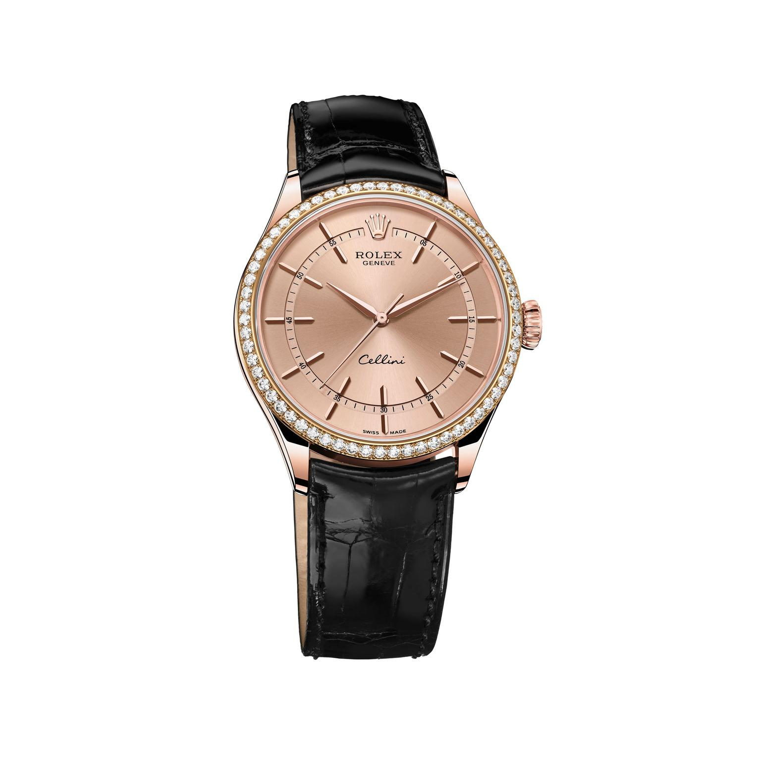 Rolex Cellini Rose Gold and diamond watch_zoom