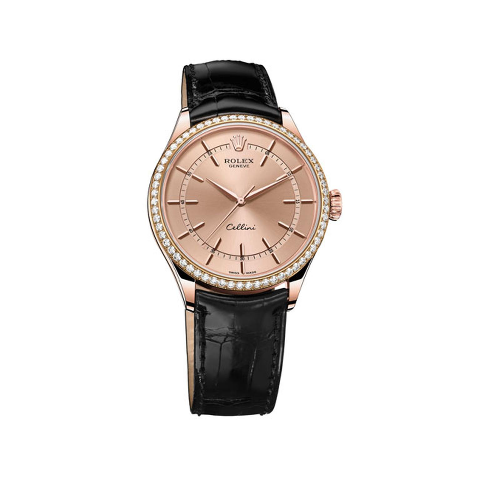 Rolex Cellini Rose Gold and diamond watch_main